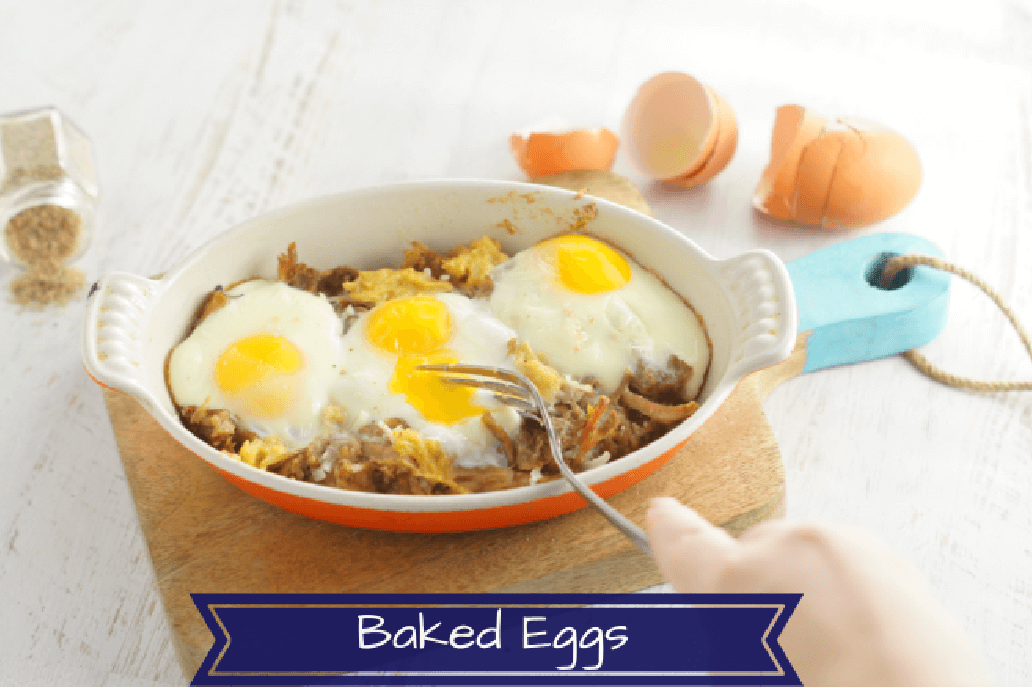 Healthy baked eggs, a simple breakfast that is paleo and whole 30