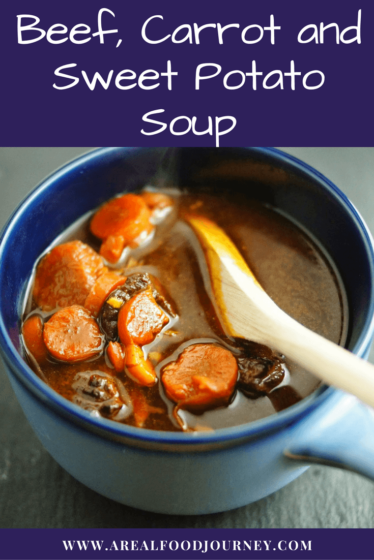 Beef, carrots and sweet potato soup! Smokey, slightly sweet with a kick!