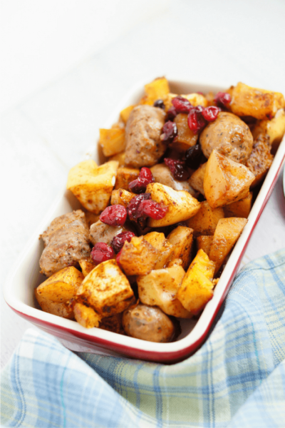 roasted pumpkin apples and sausage one pan ish