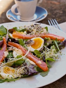 soft boiled eggs with salmon and spring mix