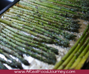 Roasted asparagus with sesame oil and furikake