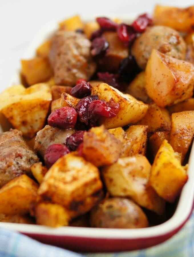 roasted pumpkin apples and sausage with cranberry one pan dish