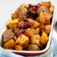 Spice Apple, Pumpkin and Sausage One Pan Dinner