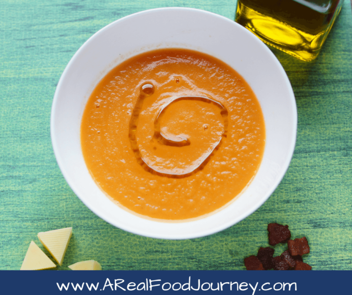 Roasted Tomato Soup recipe. Make tomato soup a whole new experience by roasting your veggies first! Trust me!