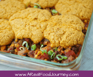 This Cornbread Chili Bake is the perfect way to spice up leftover chili! Great for potlucks!