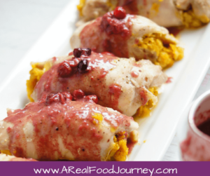 Chicken Pumpkin Curry Wraps with Cranberry sauce