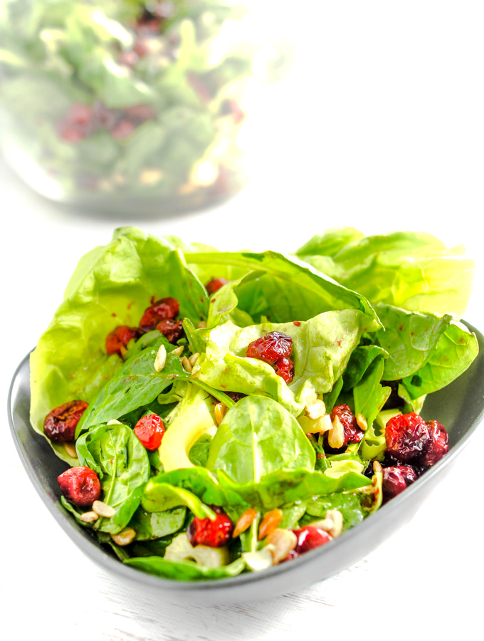 A triangle bowl of butter lettuce with roasted red cranberries