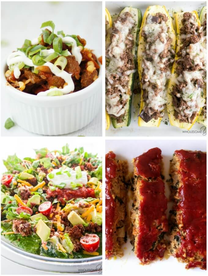 four low carb ground beef recipes, chili meatloaf salad and squash boats.
