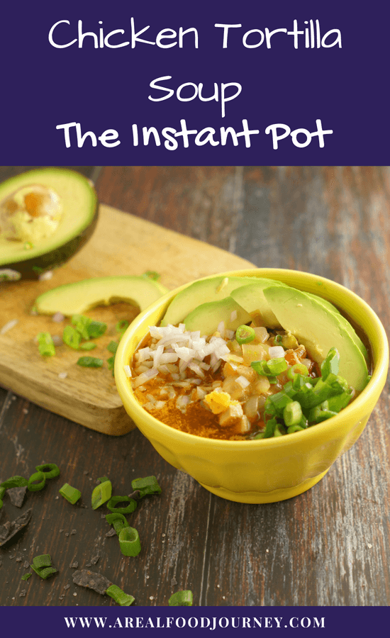 Gluten free chicken tortilla soup. This soup is made in about 30 minutes and cooked in the Instant pot. It is whole 30 compliant, paleo, gluten free and grain free! Enjoy your favorite soup no matter your diet!