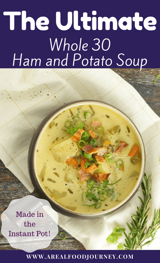 Learn to make a delicious gluten free potato soup with ham in the instant pot. Dump in the ingredients and walk away! Come back to a flavorful ,hearty and whole 30, paleo, soup!