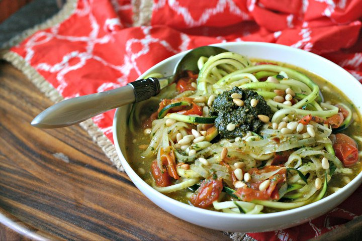 Vegan Gluten Free Zucchini Soup with Pesto
