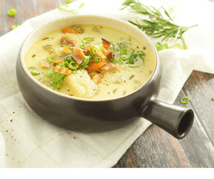 Gluten Free Potato soup with ham- dump and go in the instant pot!
