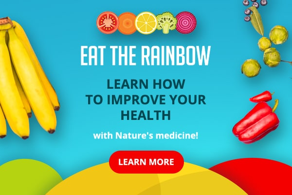Eat the rainbow test over a blue background with bananas, peppers and peppers