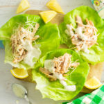 3 lettuce boats with shredded chicken cooked from frozen in the instant pot with cheese, ranch and lemon wedges.