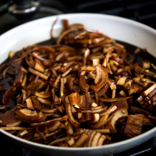 Onions in balsamic in a skillet