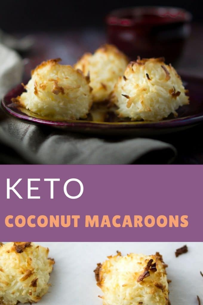 Low carb coconut macaroon cookies on a plate