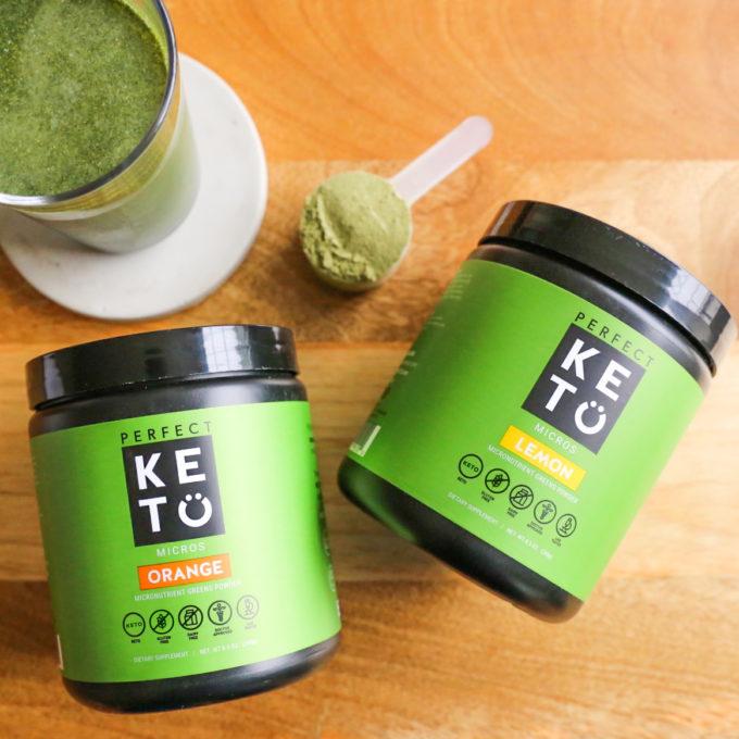 Two tubs of perfect keto micro greens lemon and orange