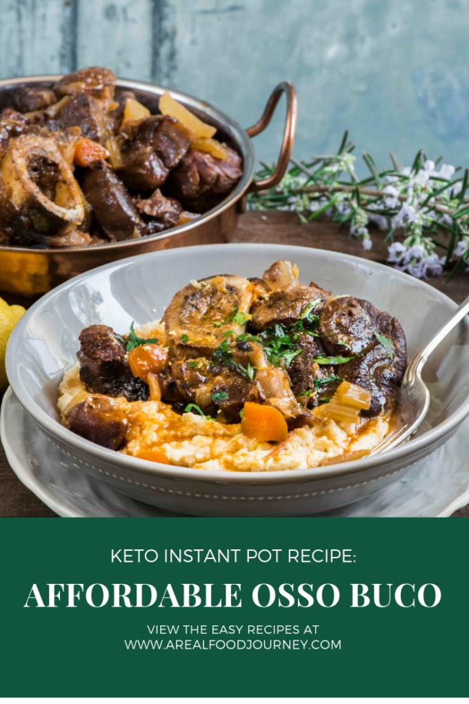Keto Osso Buca in a white bowl on a table with herbs