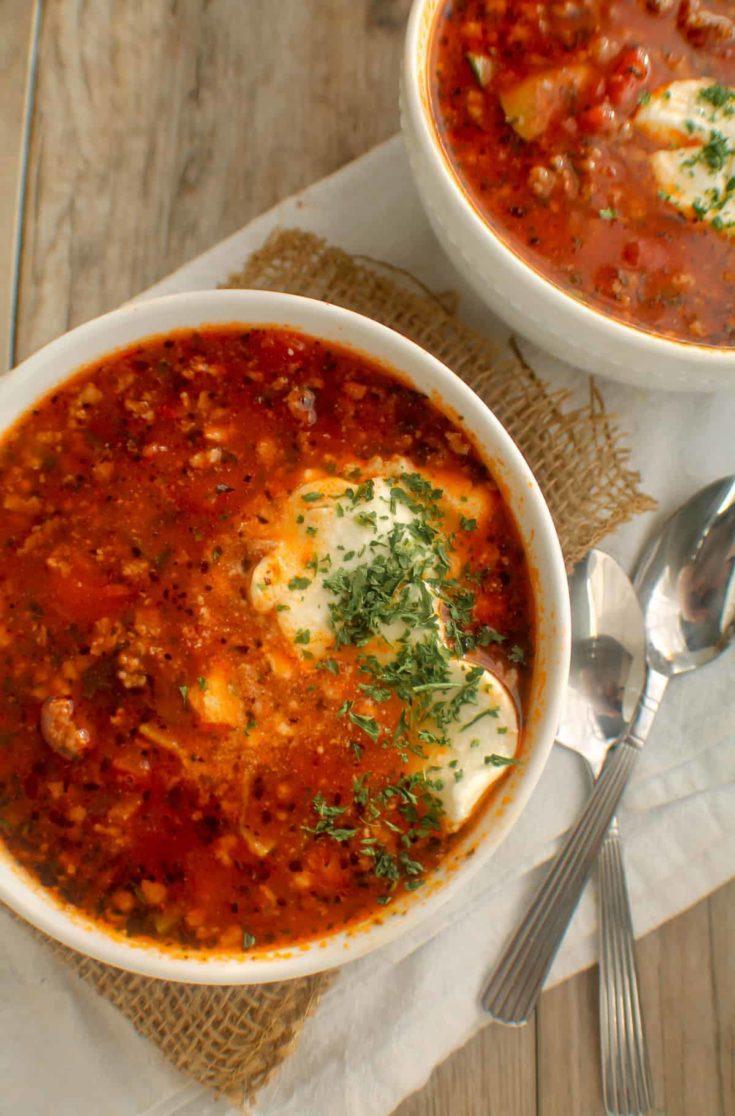 Whole30 Lasagna Soup {Paleo, Keto, & Gluten Free}